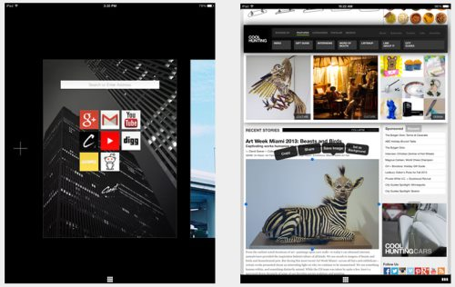 An image of the main screen and that of browsing on Coast by Opera.